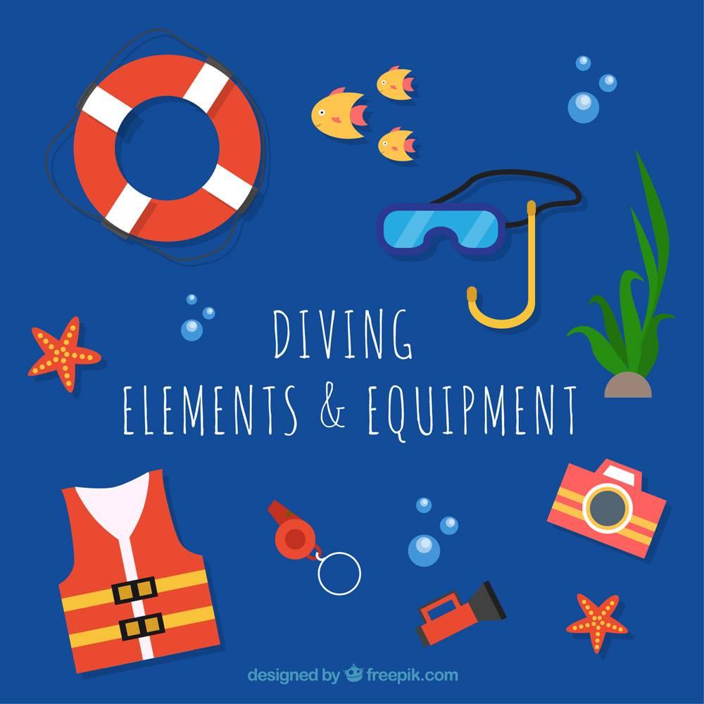 平面设计中的潜水元件和设备_889417