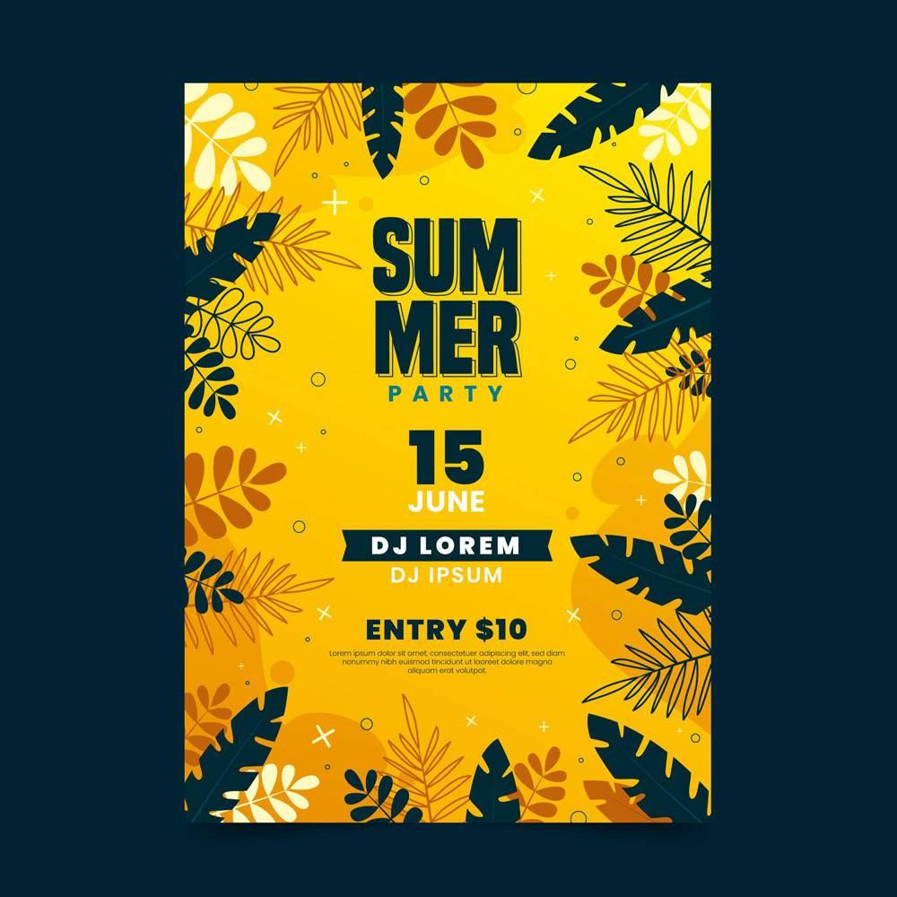 带叶子的夏日派对海报_8400865