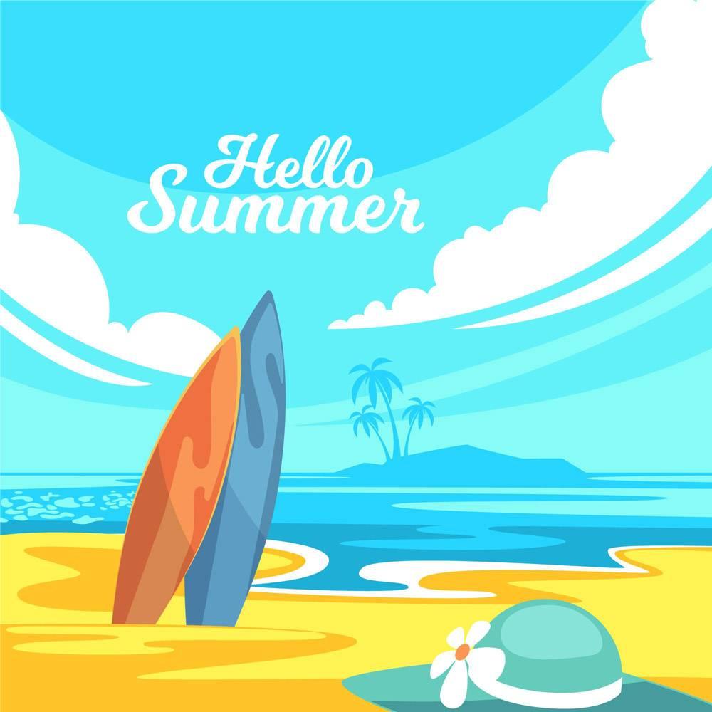 平面设计你好夏日概念_7962540