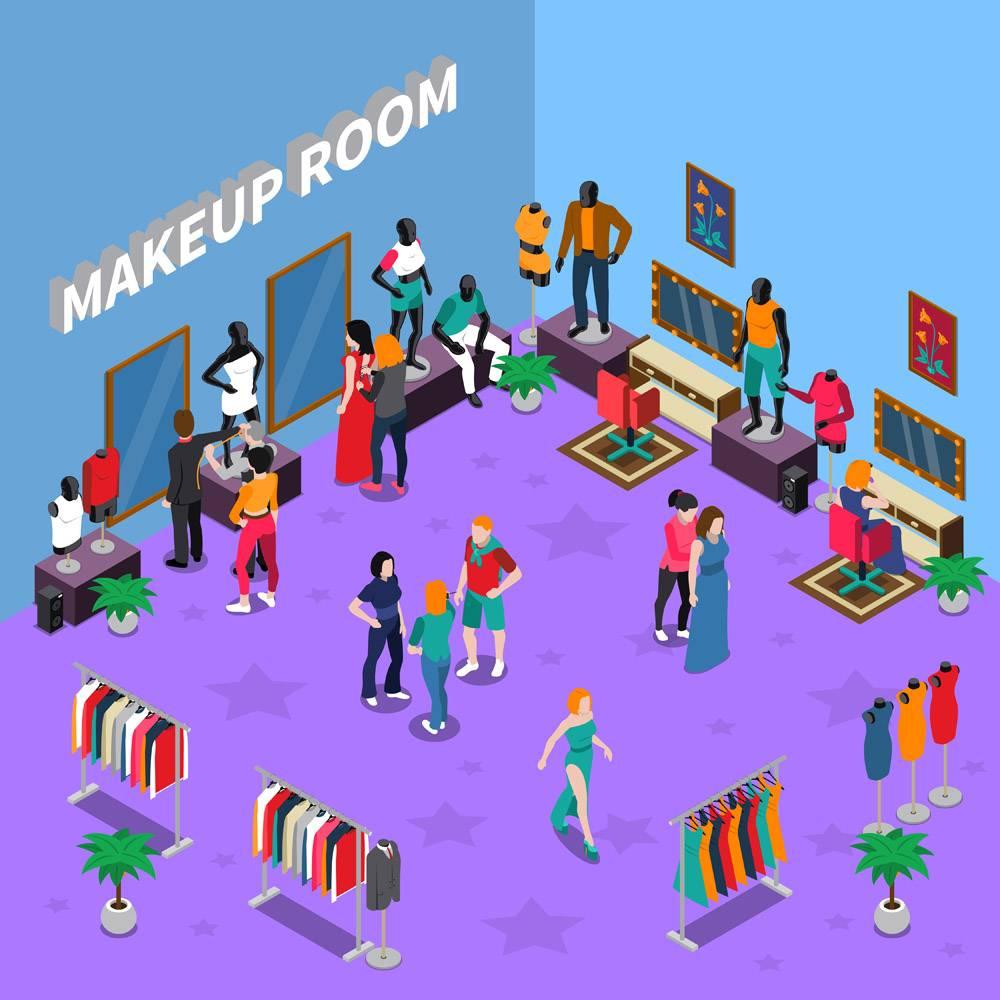 带有人体模型等距插图的化妆室_4301502
