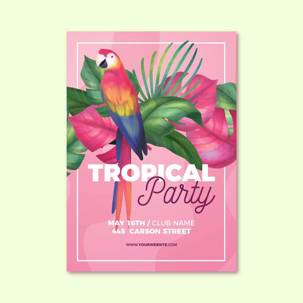带有动物的热带派对海报_7963791