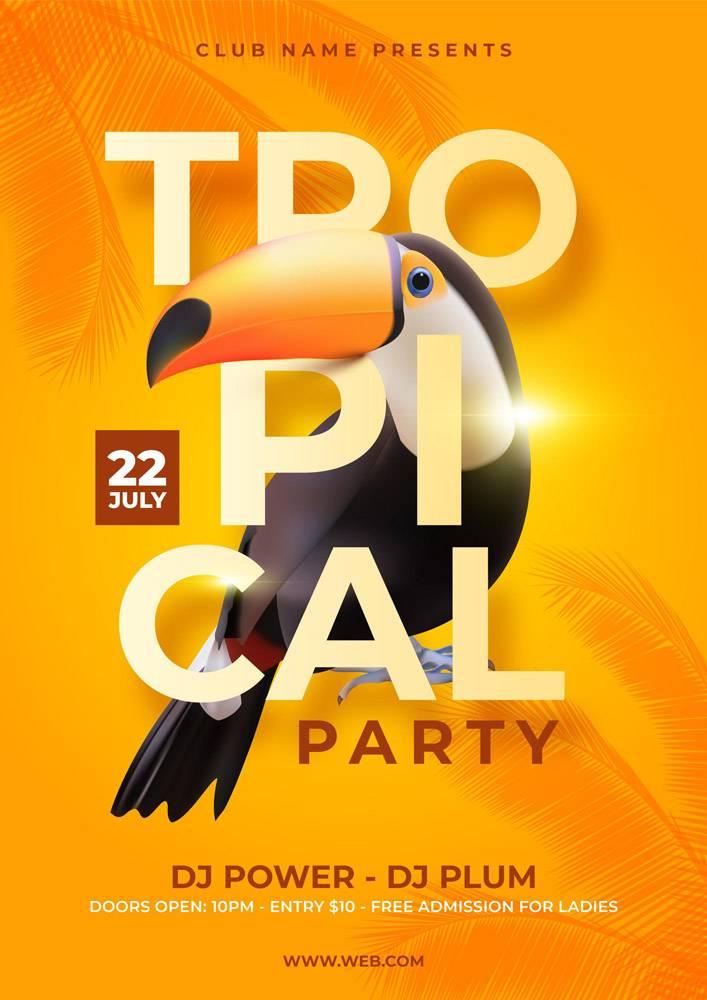 带有动物的热带派对海报_7971359