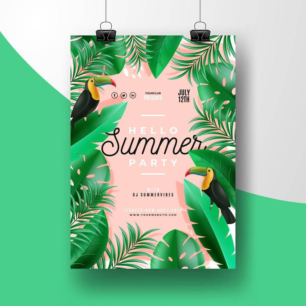 带有动物的热带派对海报_7971360
