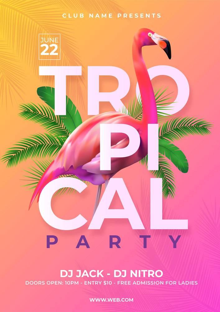 带有动物的热带派对海报_7971367
