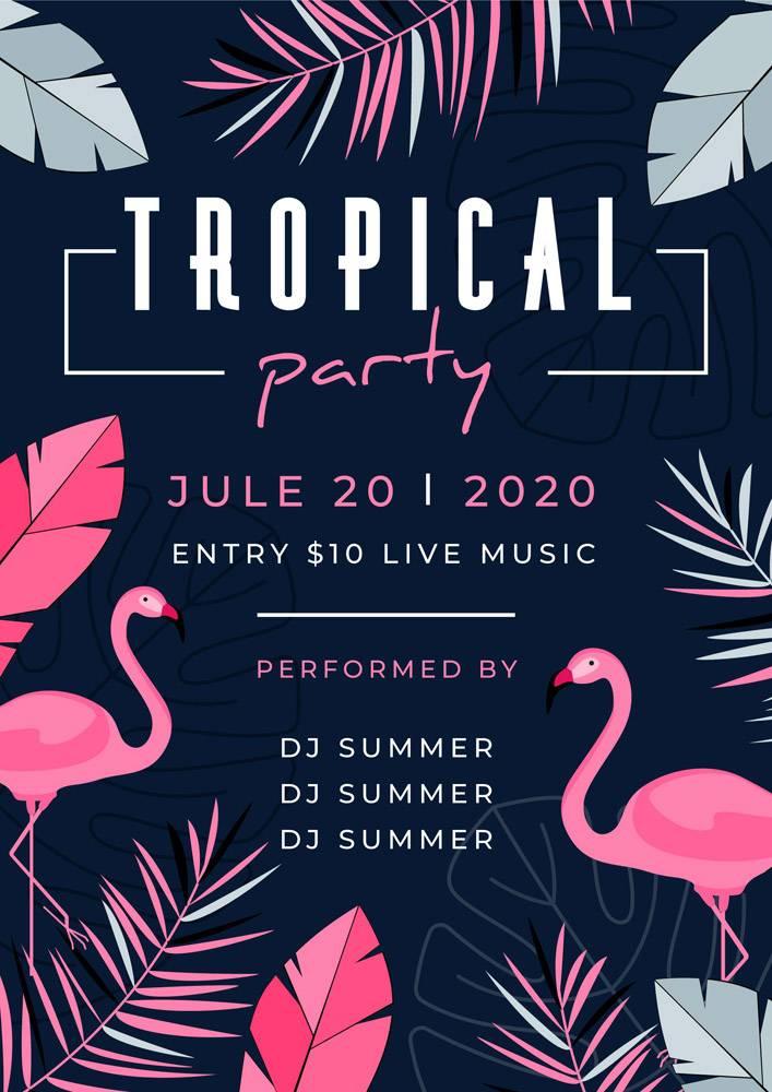 带有动物的热带派对海报_7973290