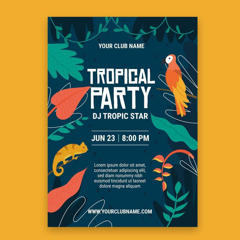 带有动物的热带派对海报_7973293
