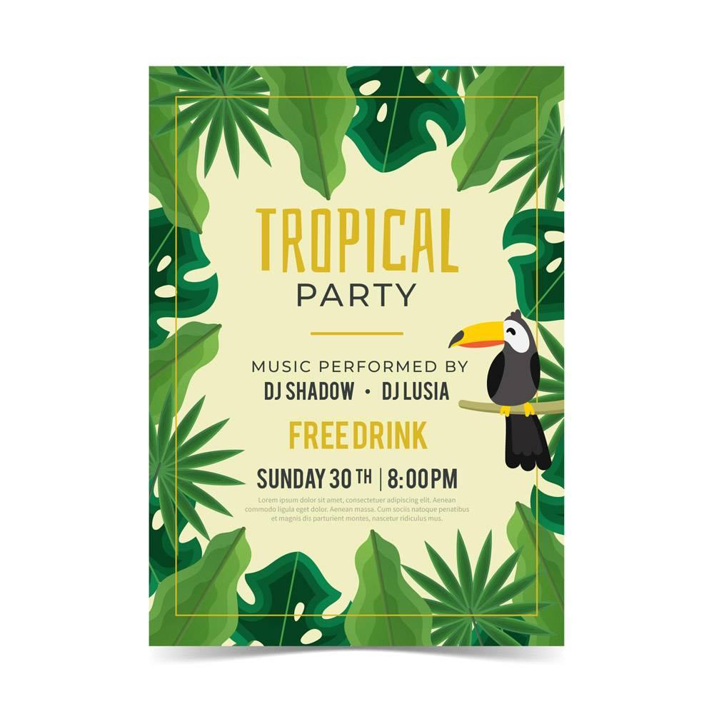 带有动物的热带派对海报_8269285