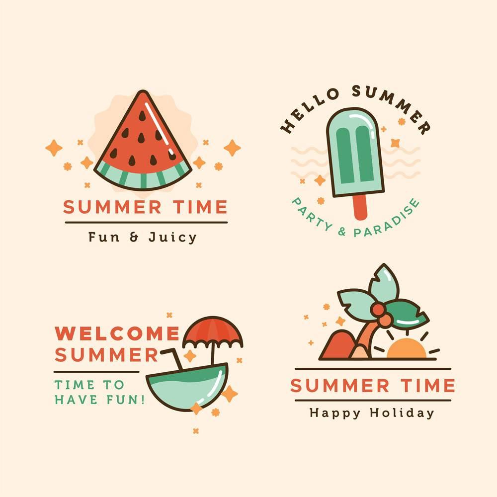 平面设计夏季标签系列_8355281