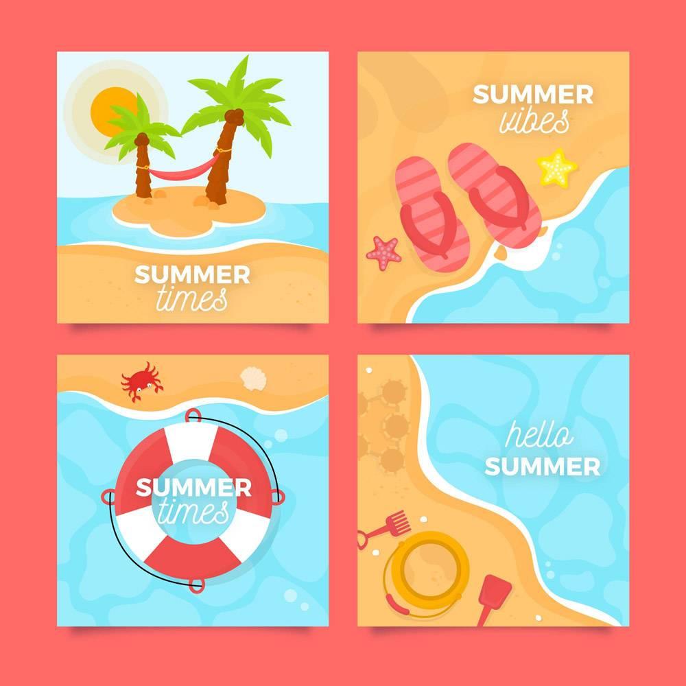 平面设计夏季海水卡_8234474