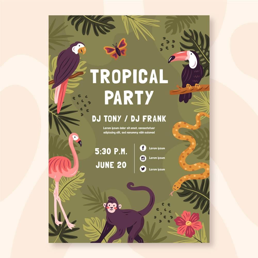 带有动物的热带派对海报_8399908