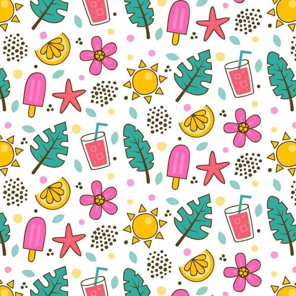 带有叶子和冰激凌的夏季图案模板_9365656
