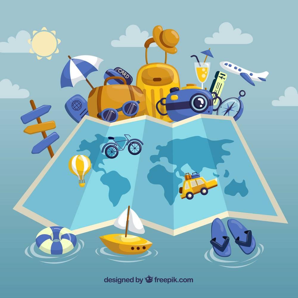 带有夏季旅行元素的平面地图_2338238