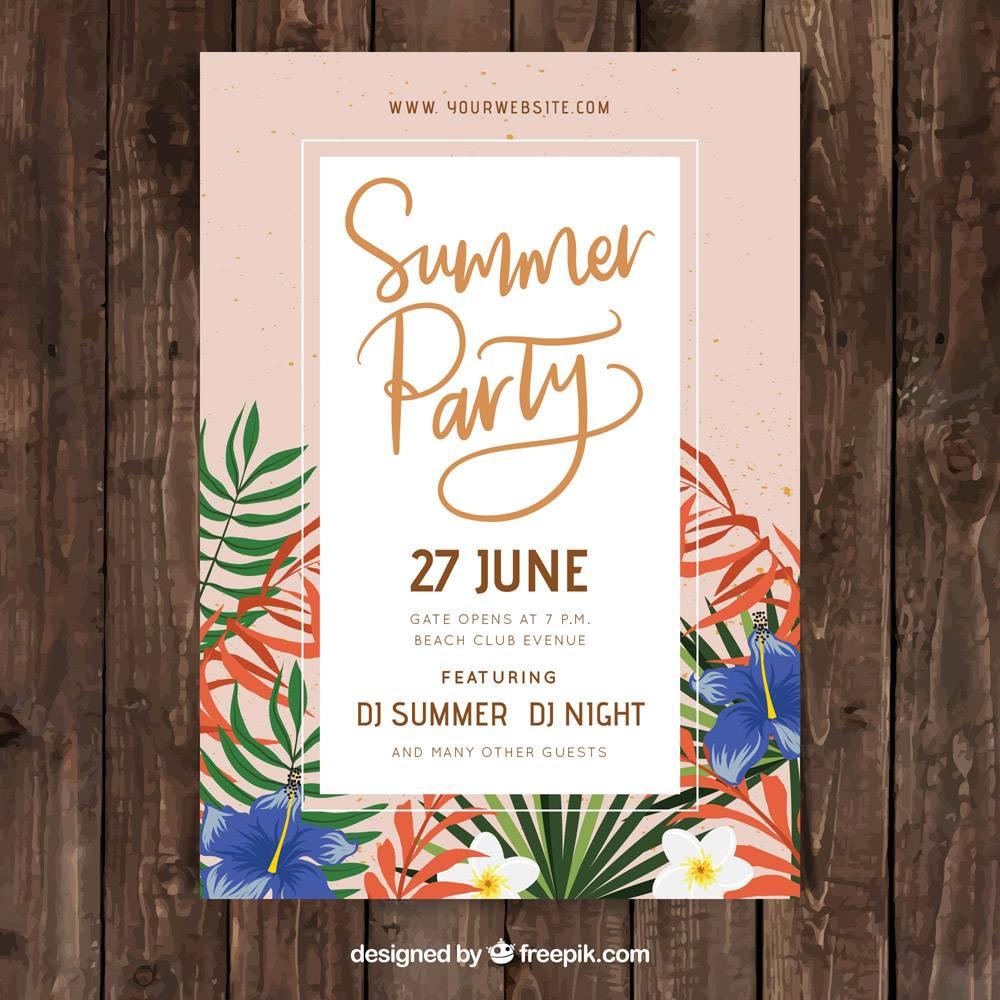 带有夏季植物的派对海报_2385392