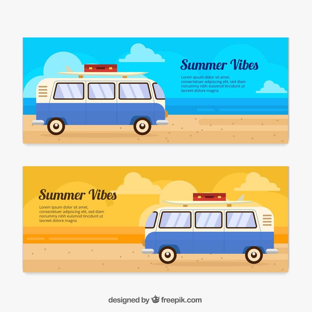 带有平坦设计的大篷车的夏季横幅_1111422