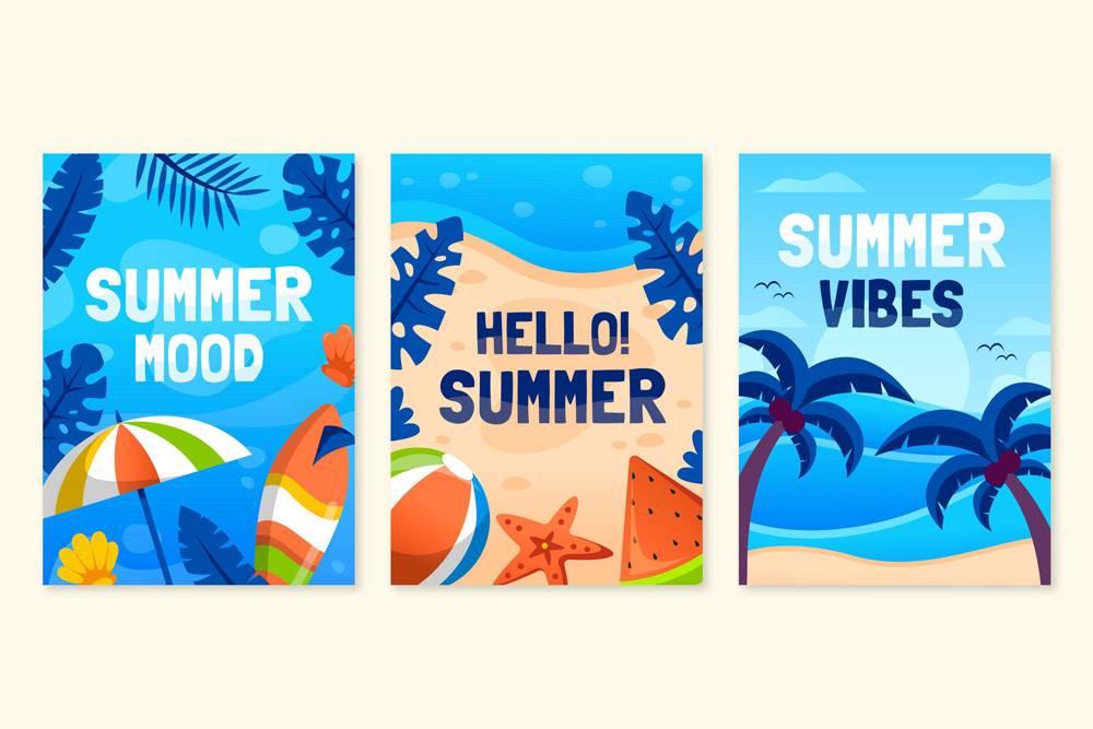 平面设计夏日卡片套装_8248227