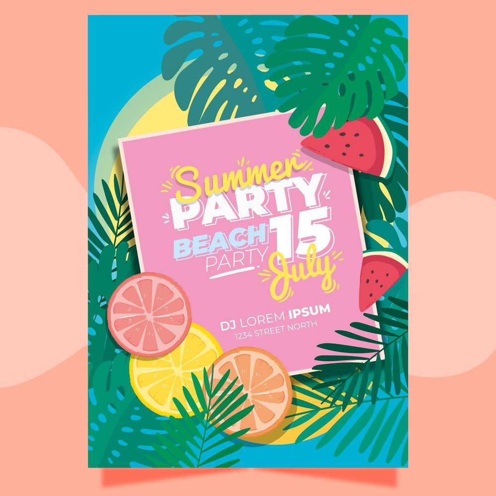 带有树叶和柑橘的夏日派对海报模板_8509374