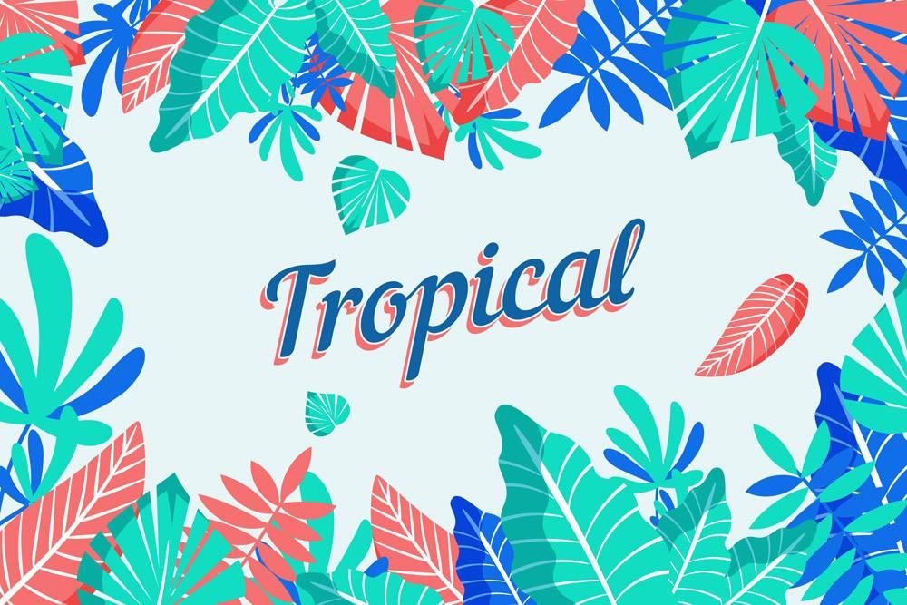 带有树叶或花朵的热带字母_7973465