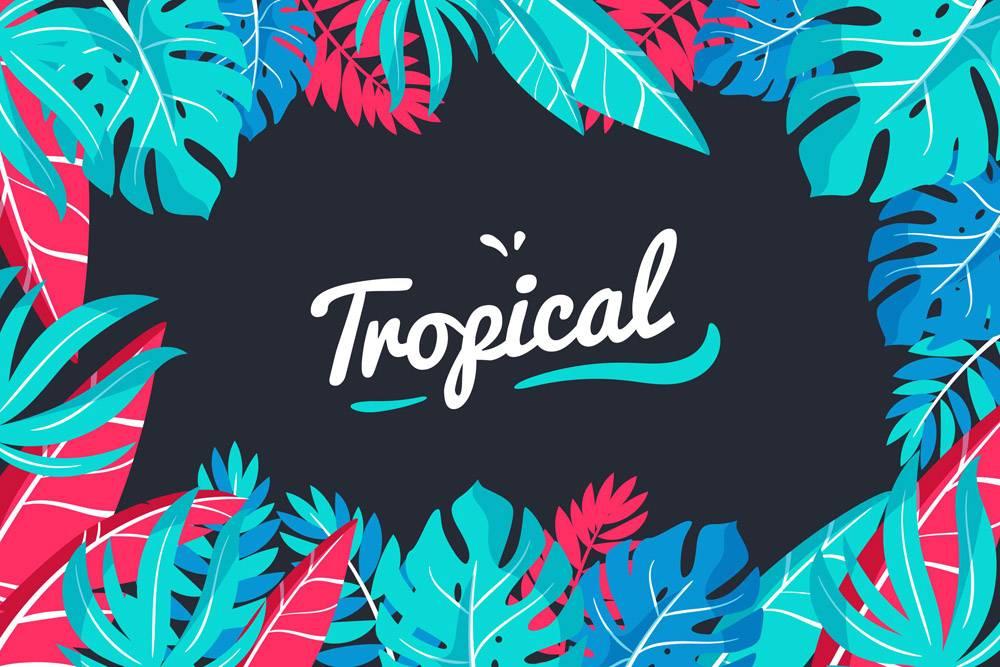 带有树叶或花朵的热带字母_7973471