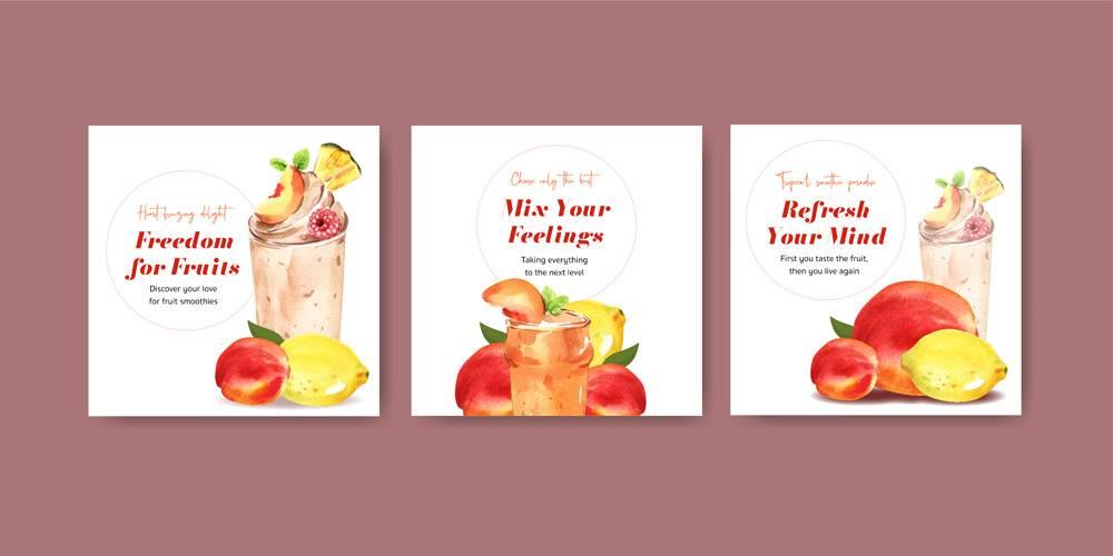 带有水果冰沙概念的横幅模板_11916057