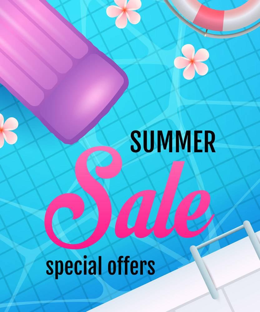 带有游泳池水和充气床垫的夏季打折字样_4977899