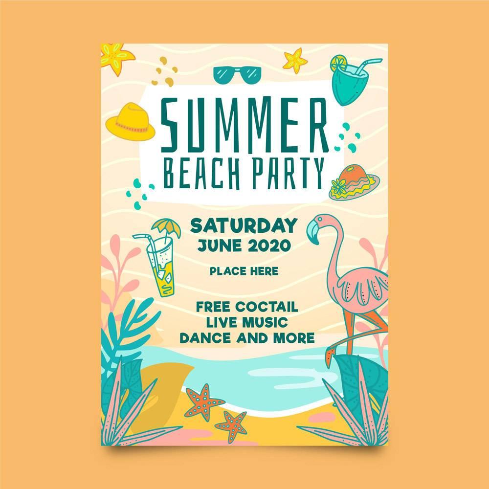 带有火烈鸟和海滩的夏日派对传单模板_7967979