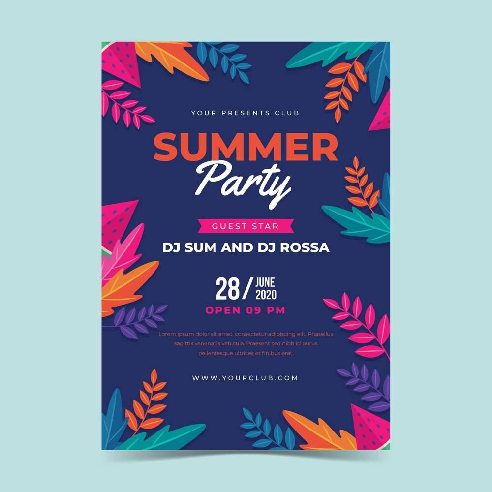平面设计夏日派对海报模板_8352635