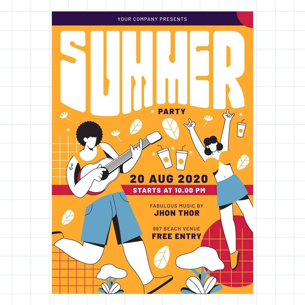 平面设计夏日派对海报模板_8999711