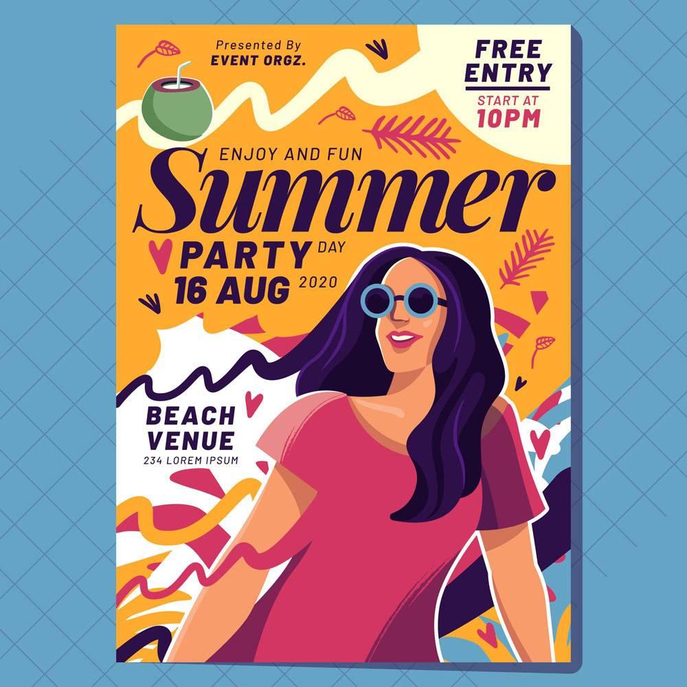平面设计夏日派对海报模板_9002330