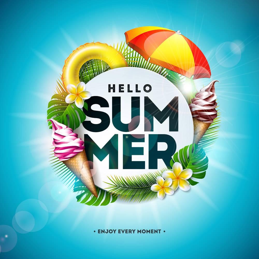 带有花朵和热带棕榈叶的暑假插图_4951453