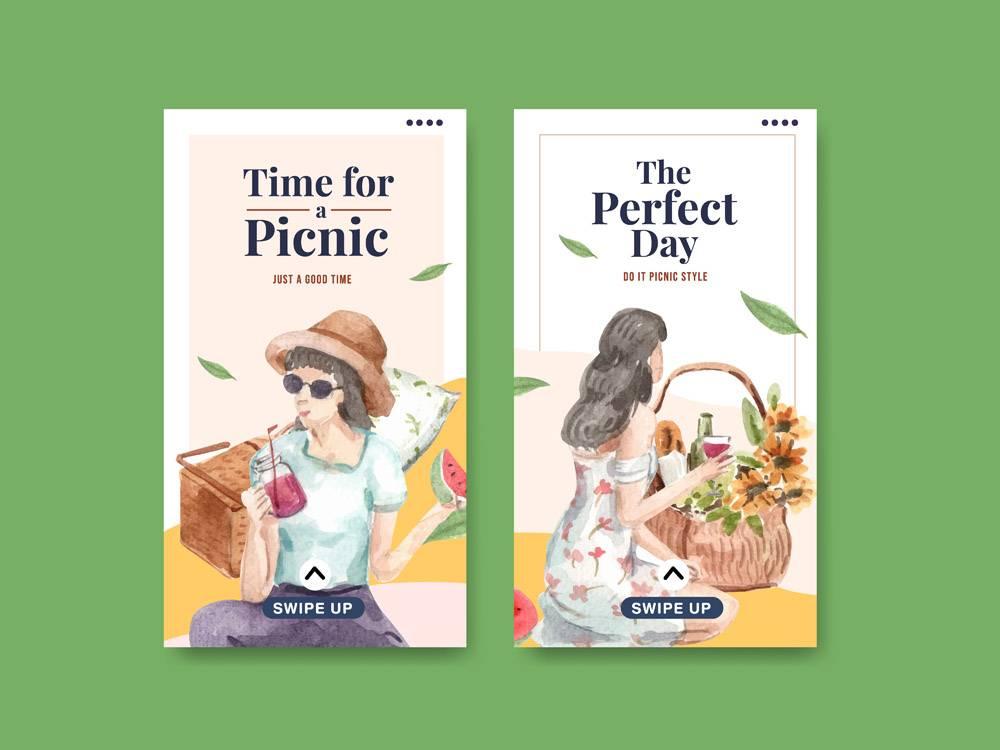 带有野餐旅行概念的Instagram模板集_12801329