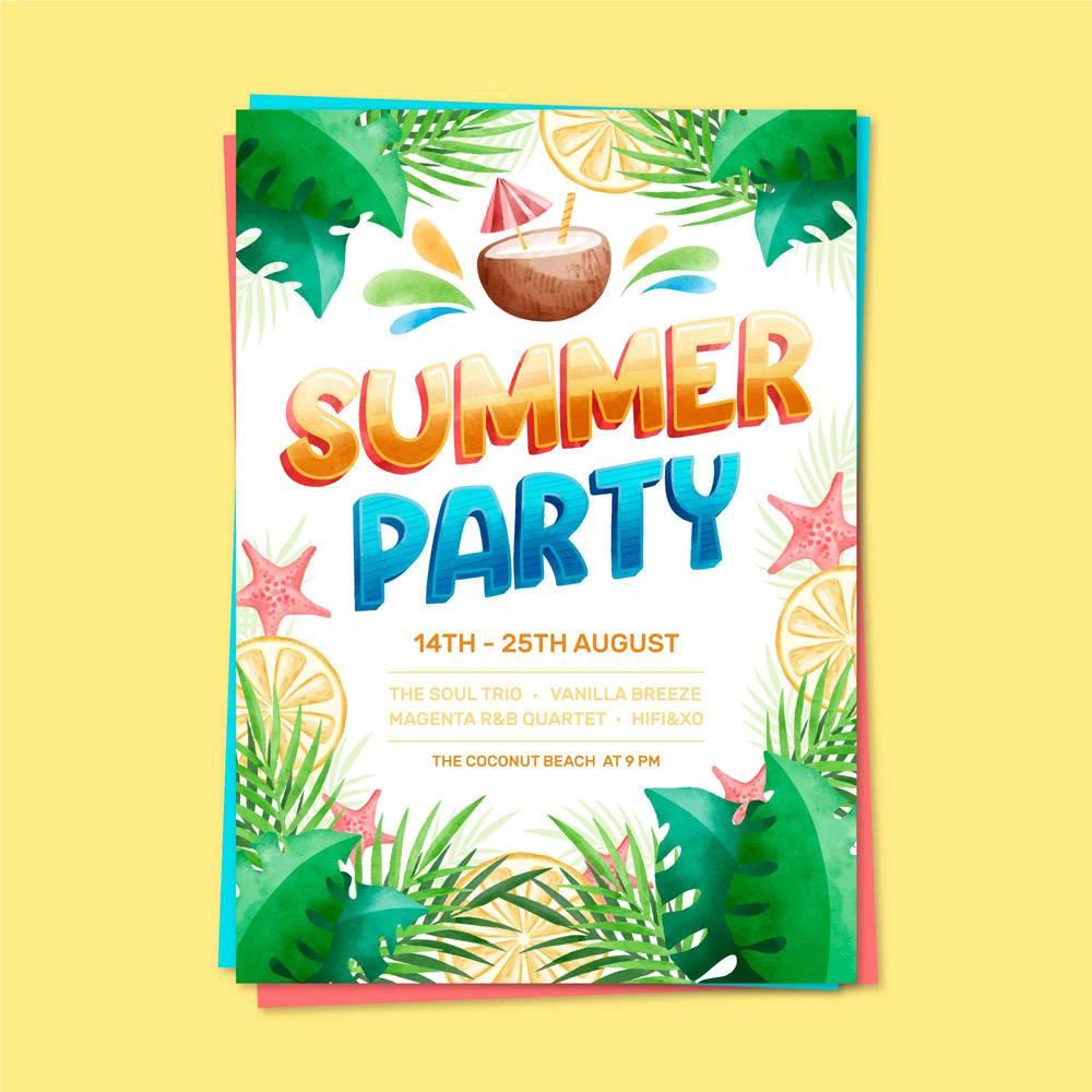 印有字母的夏日派对海报_8247075