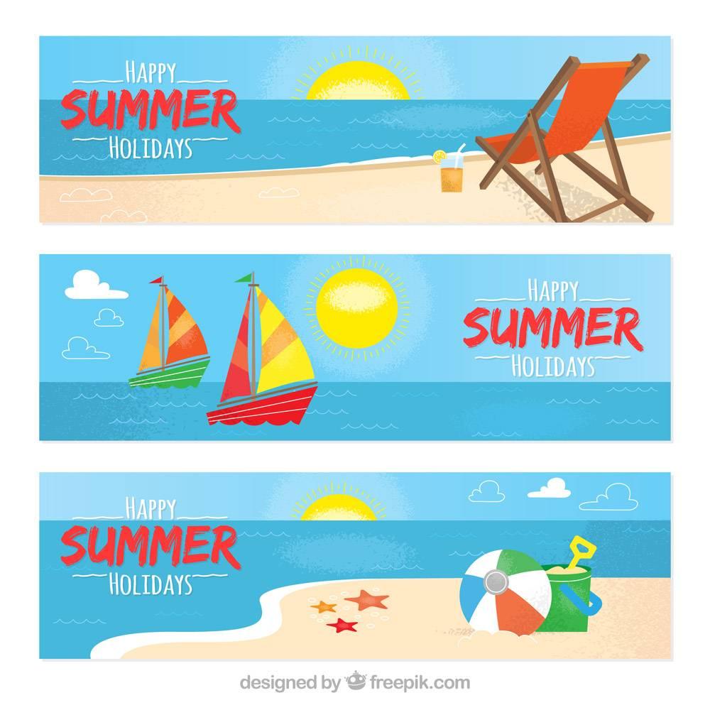 三条平面设计的夏季横幅_1119293