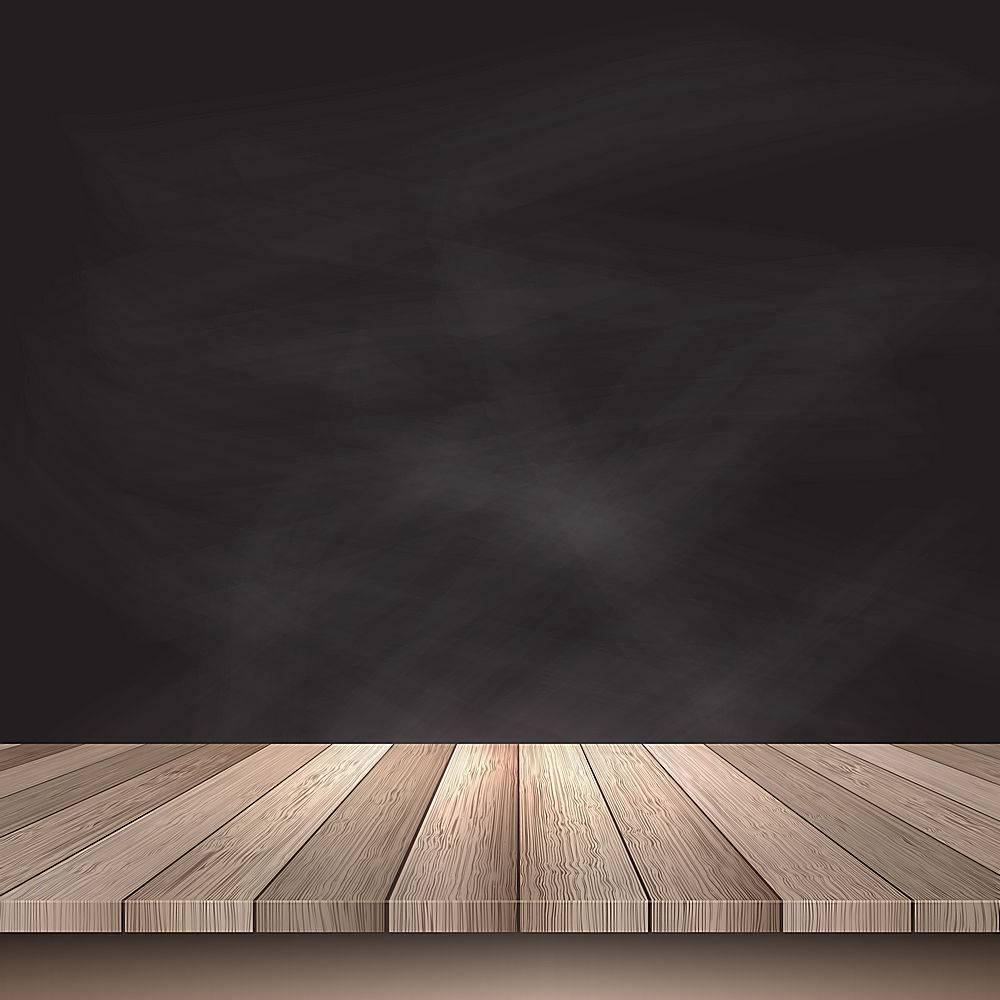 黑色背景上的木桌_1064357