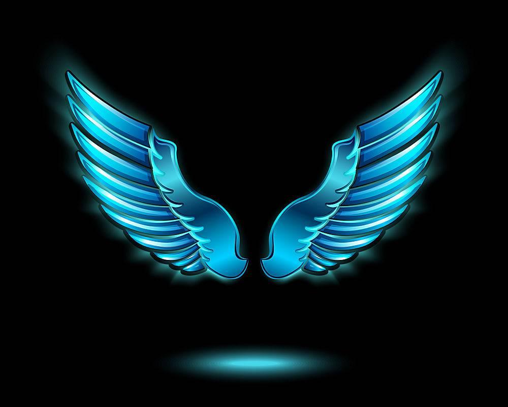 蓝色发光的天使翅膀带有金属光泽和阴影符_1158227