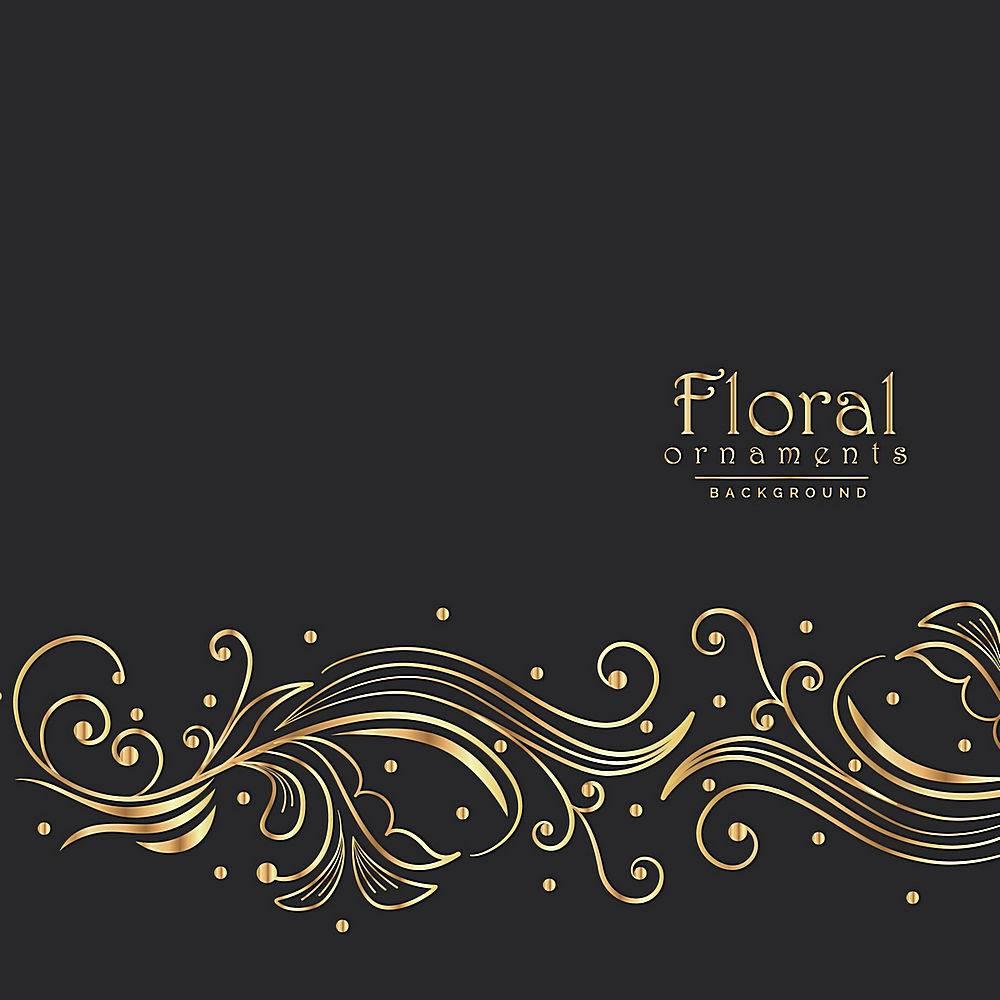 黑色背景配以花卉装饰_985711