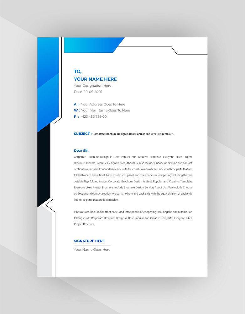 黑色青色抽象信头模板设计_8609609