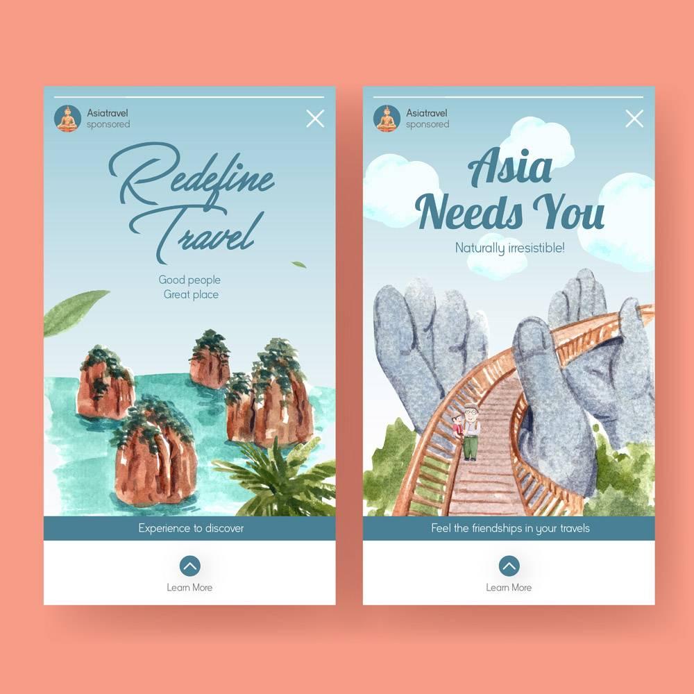 与亚洲旅行概念设计的Instagram模板社会媒_11173125