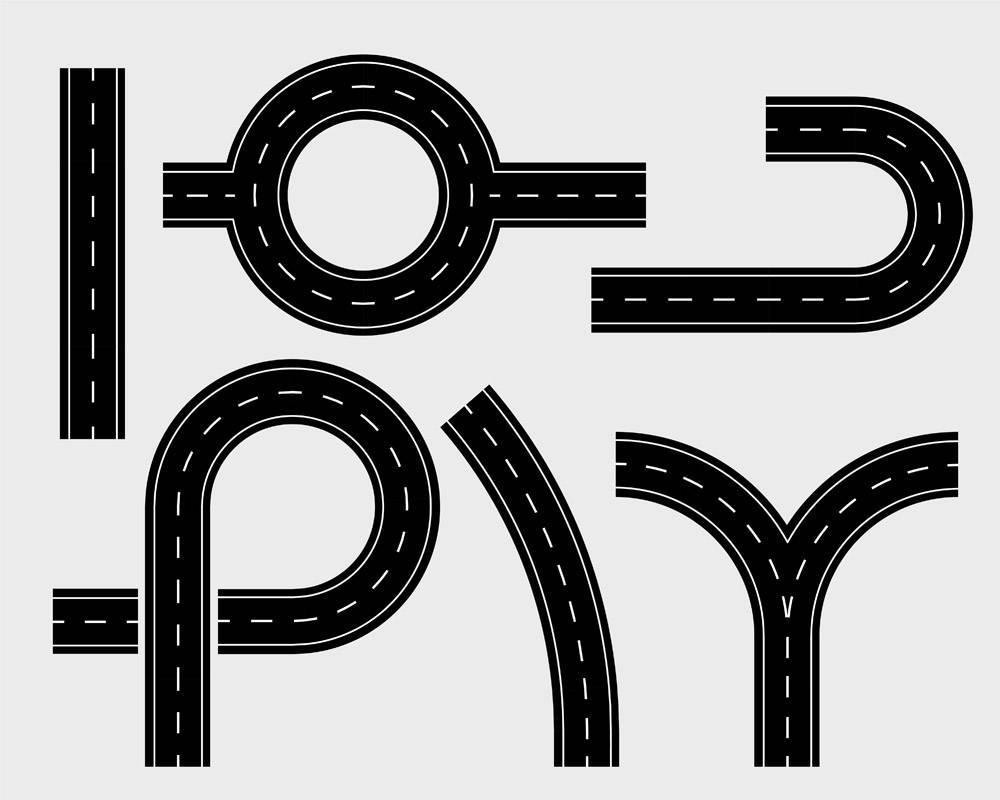 道路元素套轨道和绕线曲线_12319980