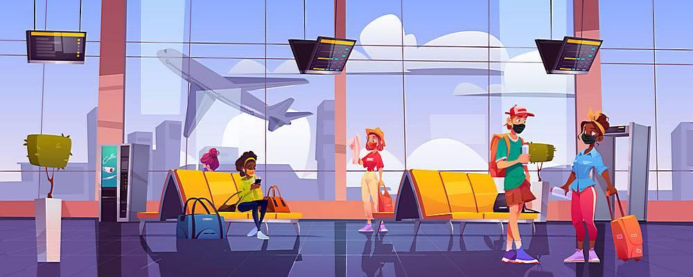 在机场候诊室游人的旅客在面具面具有行李的_15421059