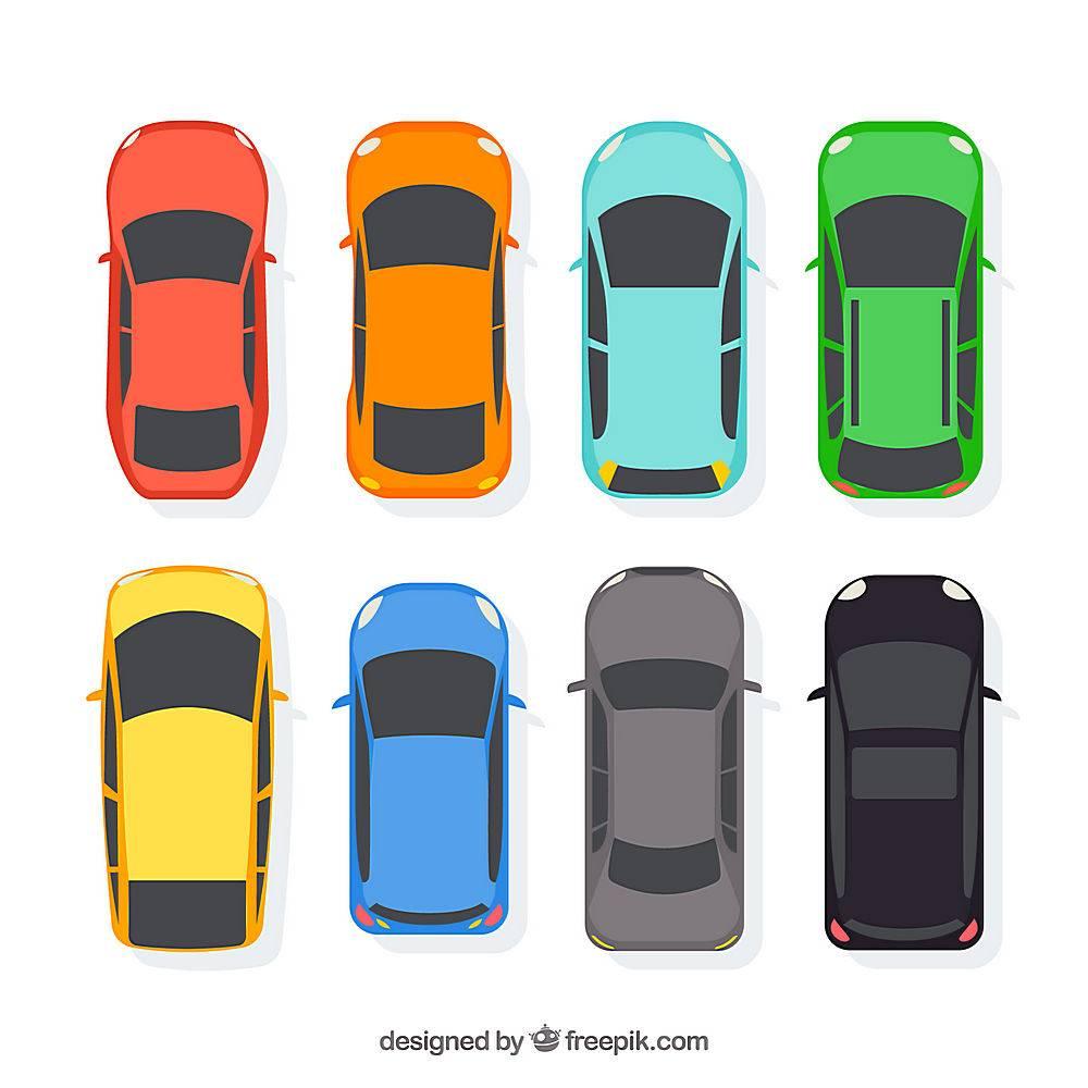 在顶视图的平的汽车收藏_1349616