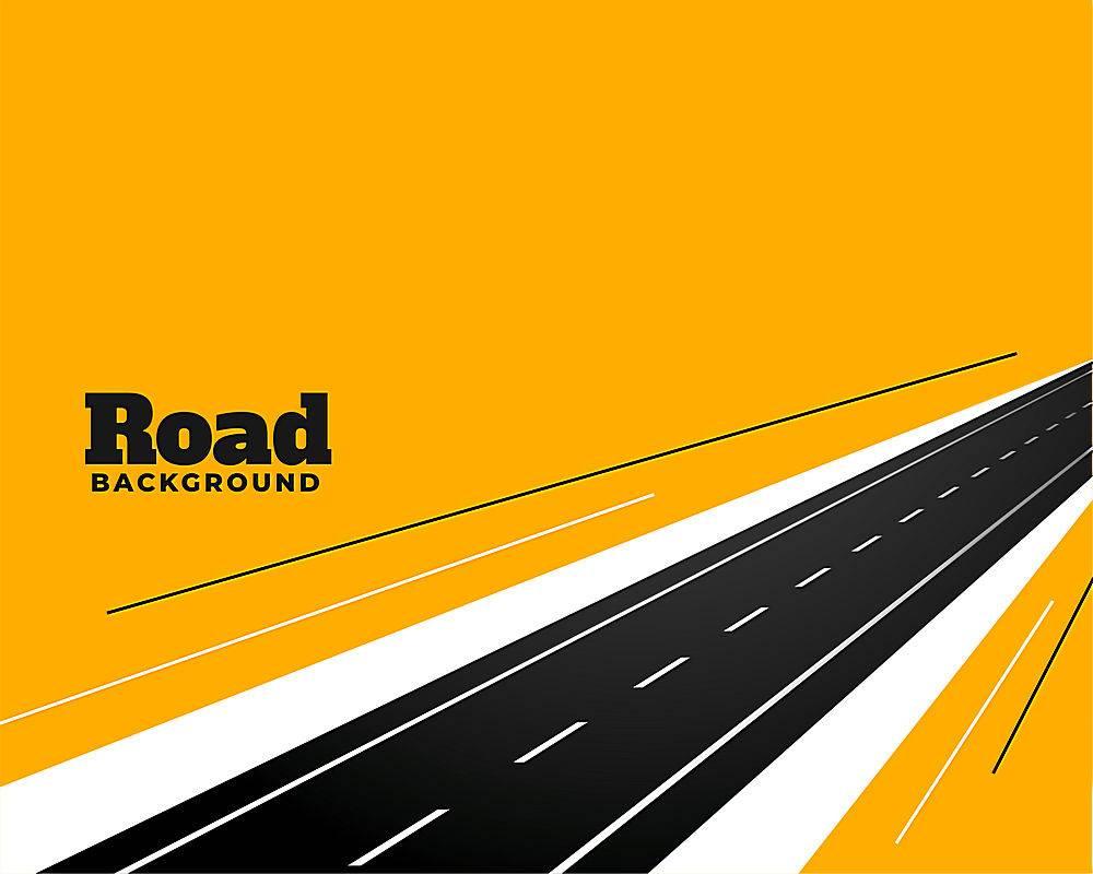 在黄色背景设计的透视路径_9727745