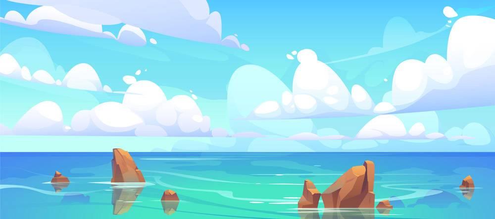 与石头的海风景在水和云彩_7058935