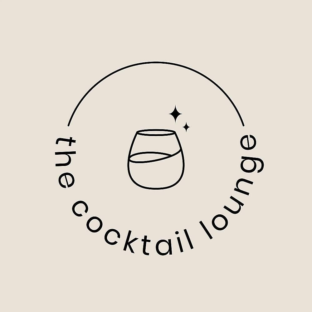 鸡尾酒休息室logo模板与最小的鸡尾酒杯_16393280
