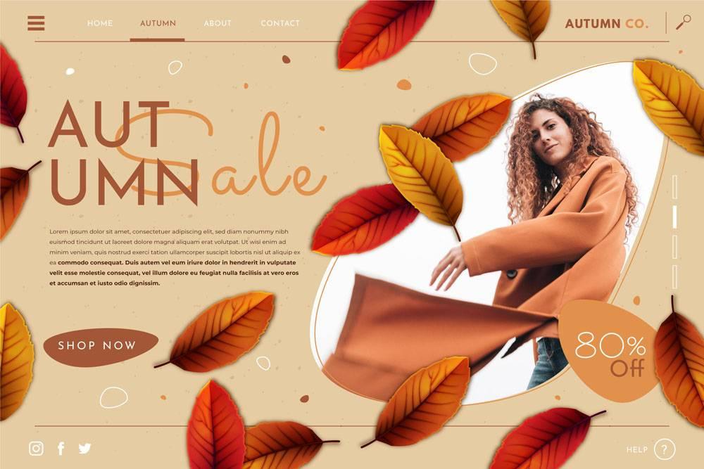 详细的秋天销售登陆页模板与照片_16390842