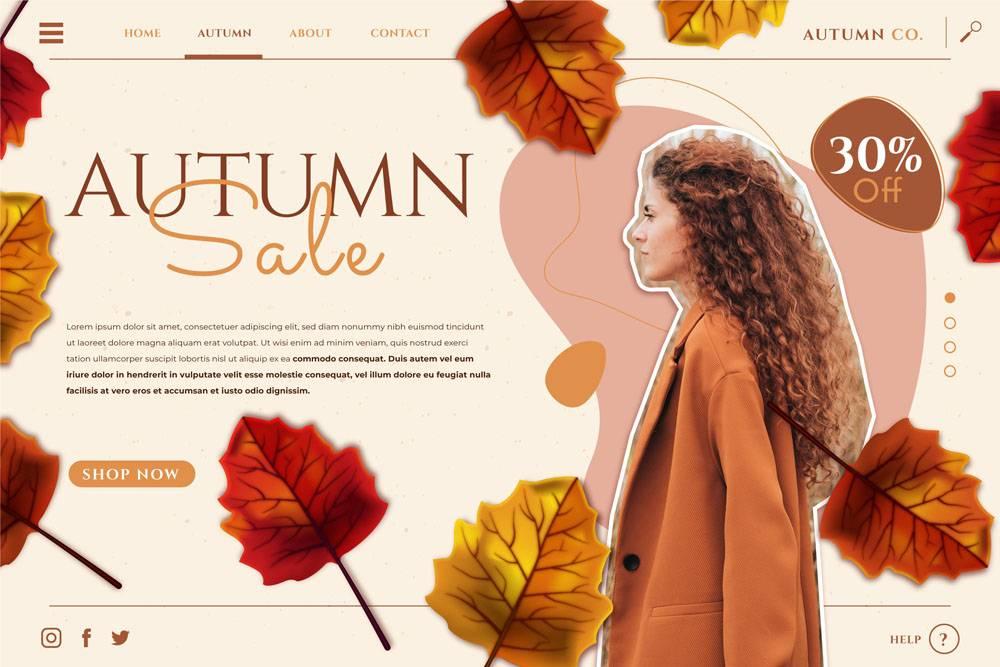 详细的秋天销售登陆页模板与照片_16390852