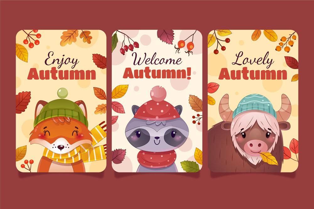 详细的秋季卡片集合_17808595