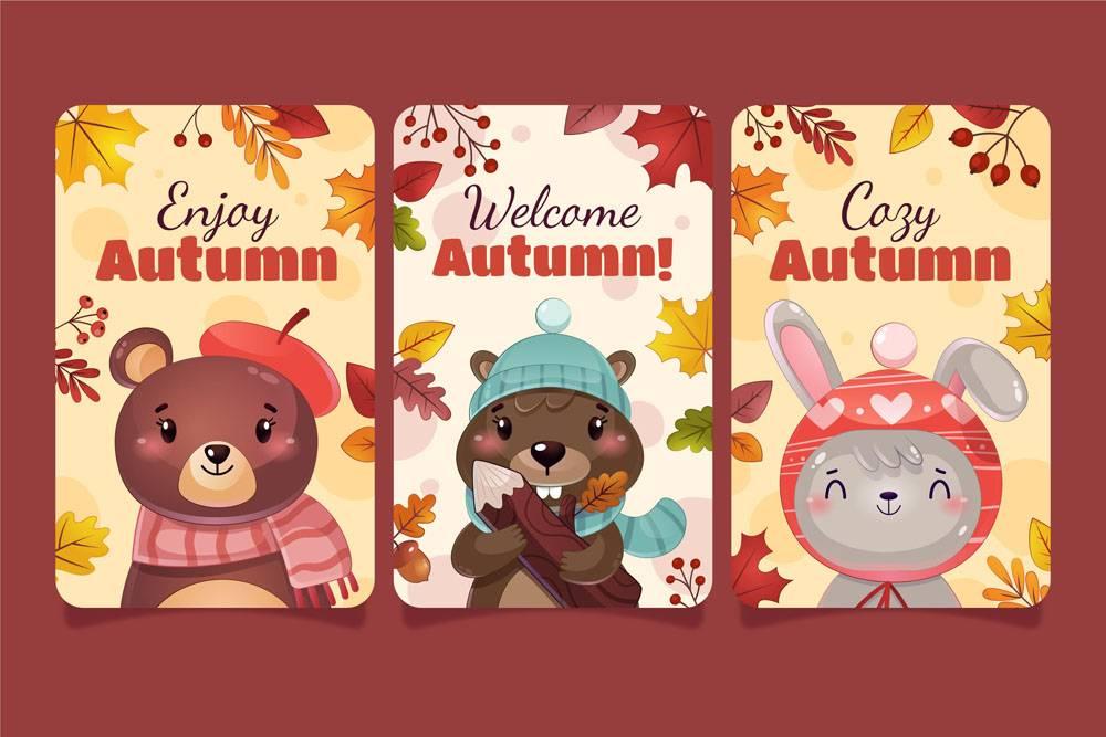 详细的秋季卡片集合_17808626