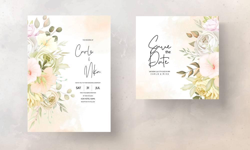 温暖的秋天秋天花卉婚礼邀请卡模板_17301644