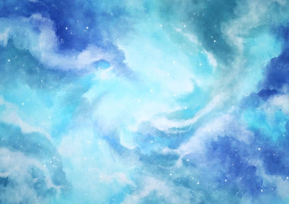 蓝色恒星天空水彩背景_12712922