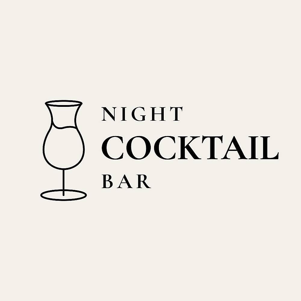 豪华酒吧标志模板与最小的鸡尾酒杯_16393293